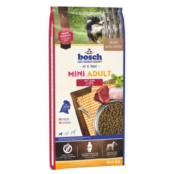 Hrana uscata pentru caini Bosch Mini Adult cu miel si orez 15 kg