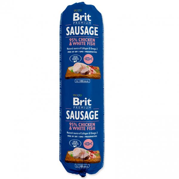 Salam Brit Premium cu Pui si Peste Alb, 800 gr