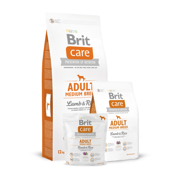 Brit Care Adult Medium Breed Miel si Orez 1 kg