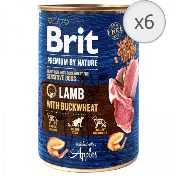 Bax 6 conserve Brit Premium by Nature Lamb with Buckwheat 400 g