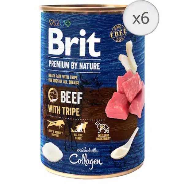 Bax 6 conserve Brit Premium by Nature Beef with Tripes 400 g