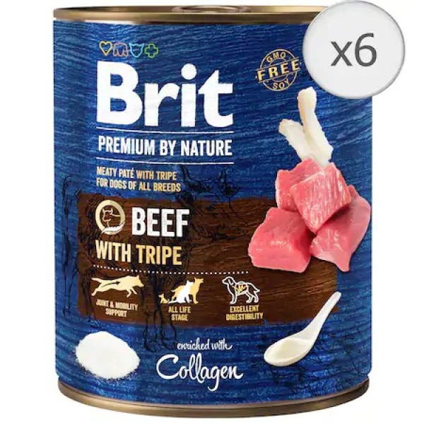 Bax 6 conserve Brit Premium by Nature Beef with Tripes 800 g