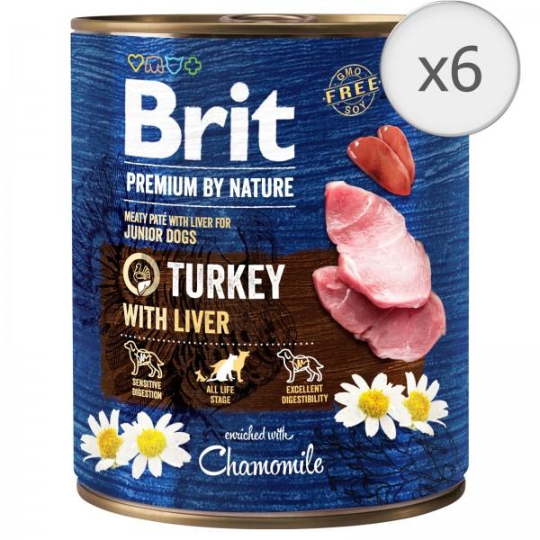 Bax 6 conserve Brit Premium by Nature Junior, Turkey with Liver 800 g