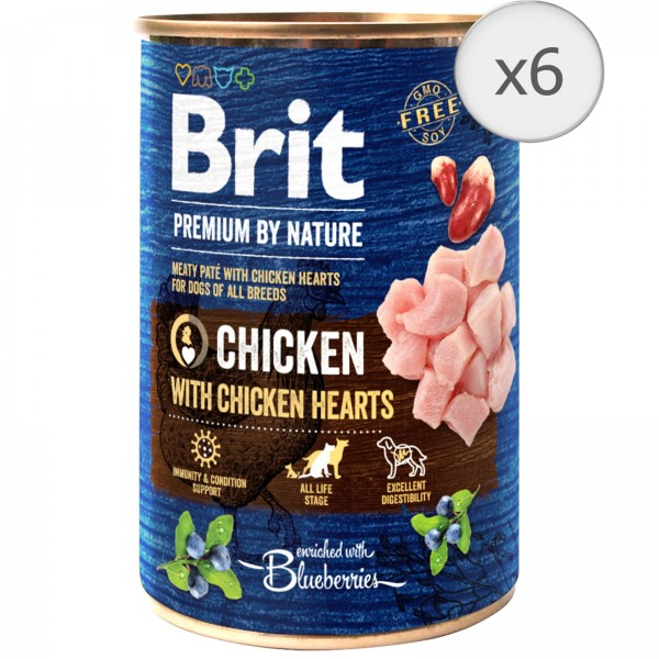 Bax 6 conserve Brit Premium by Nature Chicken with Hearts 400 g