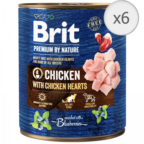 Bax 6 conserve Brit Premium by Nature Chicken with Hearts 800 g