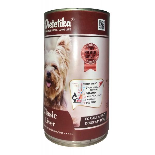 Hrana umeda pentru caini, Dietetika Clasic, cu Ficat, 415 gr