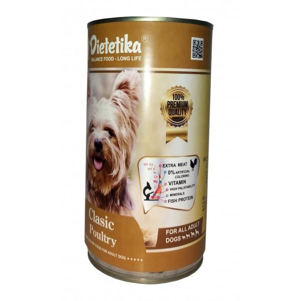 Hrana umeda pentru caini, Dietetika Clasic, cu Pui, 415 gr