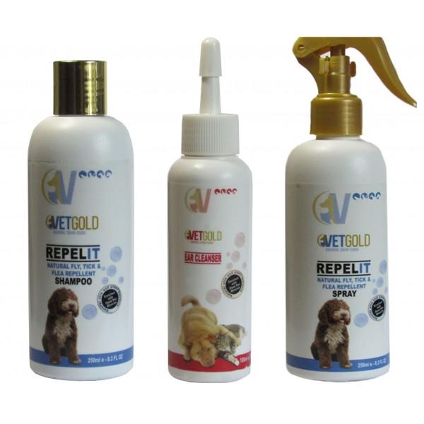 Promo Sampon + Spray antiparazitar Vetgold, Fly, Tick & Flea, pentru caini si pisici, 250ml, cadou solutie otica Vetgold 100ml