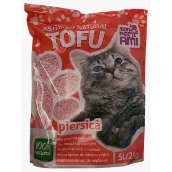 Nisip pentru pisici Mon Petit Ami Tofu PIERSICA 5L