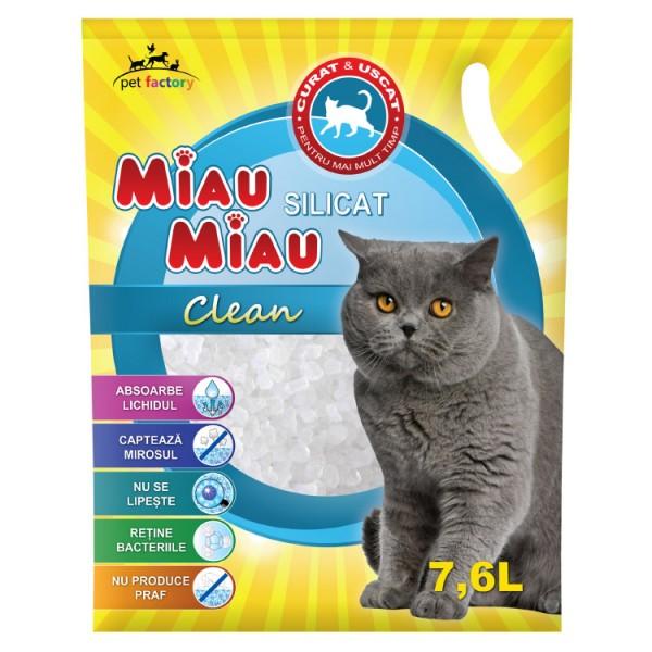 Nisip Pisici MIAU MIAU Silicat Clean 7.6L