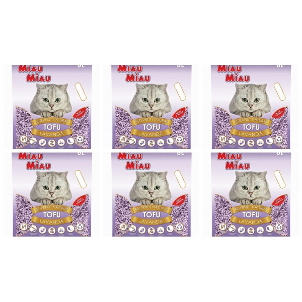 Pachet 6 x Nisip pentru pisici MIAU MIAU Tofu LAVANDA 6L