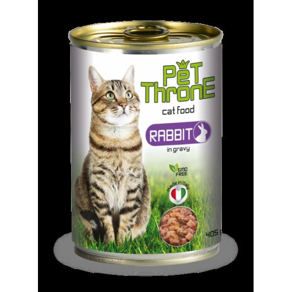 Conserva pentru pisici, Pet Throne, cu Iepure, 405 g