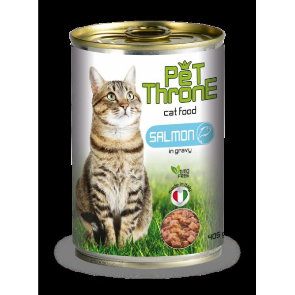 Conserva pentru pisici, Pet Throne, cu Somon, 405 g
