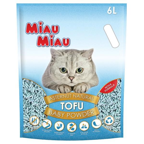 Nisip pentru pisici MIAU MIAU Tofu BABY POWDER 6L