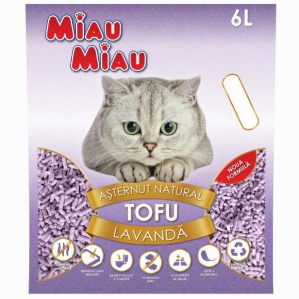 Nisip pentru pisici MIAU MIAU Tofu LAVANDA 6L