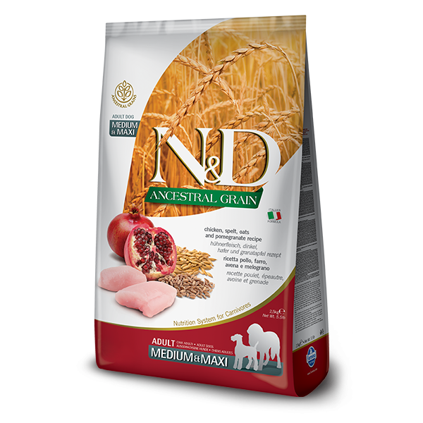 ND Ancestral Grain Dog Chicken and Pomegranate Adult Medium and Maxi 12 kg