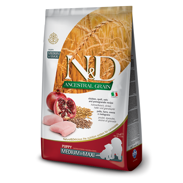 ND Ancestral Grain Dog Chicken, Spelt, Oats and Pomegranate Puppy Medium and Maxi 12 kg