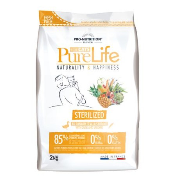 Hrana Uscata Grain Free Pisici Adulte Sterilizate Pure Life Rata Sardine 2 kg