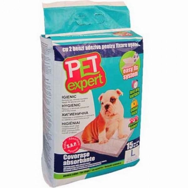 Covorase absorbante Pet Expert, cu benzi adezive, L, 60x60 cm, 15 buc