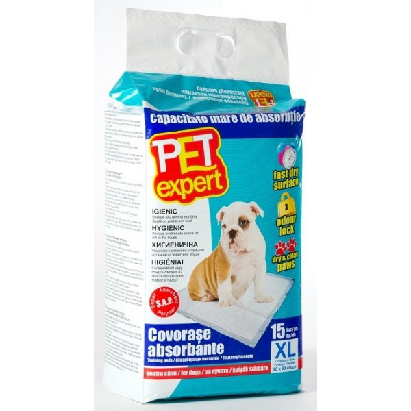 Covorase absorbante Pet Expert, cu benzi adezive, XL, 60x90 cm, 15 buc