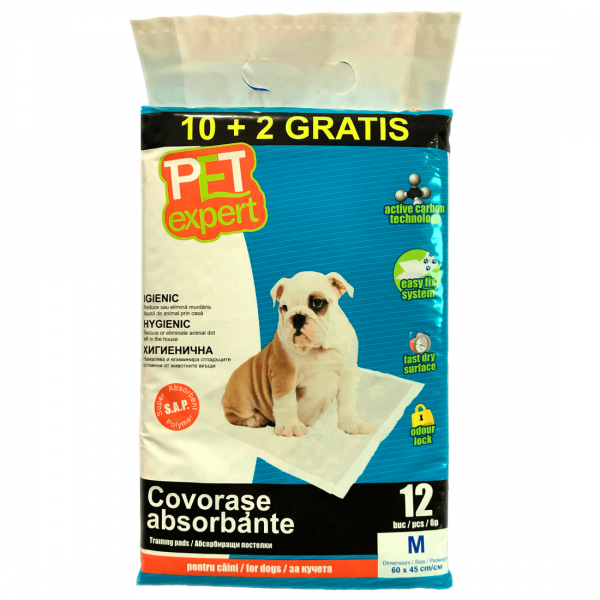 Covorase absorbante Pet Expert, carbon, M, 45x60 cm, 12 buc