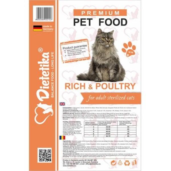 Hrana Uscata Pisici Sterilizate Dietetika Pui 10 kg