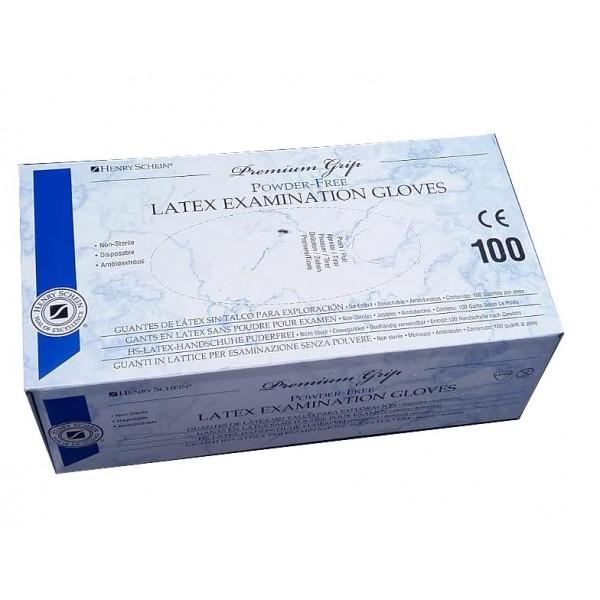 Set 100 bucati Manusi de examinare din latex Supergrip, nepudrate, cu suprafata microstructurata si margine rotunjita, marimea XS