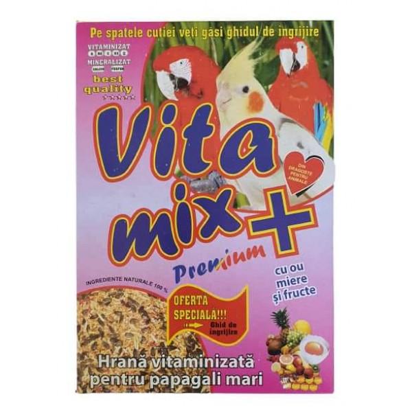 Hrana vitaminizata pentru papagali mari, Vitamix premium cu ou, miere si fructe, cutie 400 gr