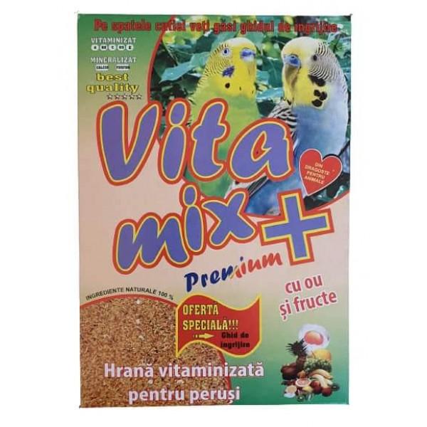 Hrana vitaminizata pentru perusi, Vitamix premium cu ou si fructe, cutie 400 gr