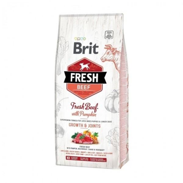 Hrana uscata pentru caini Brit Fresh, Puppy Talie Mare, Vita cu dovleac, 2.5kg