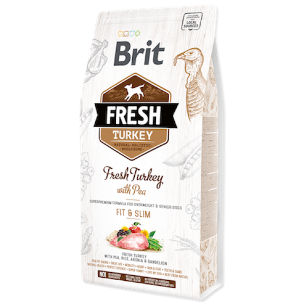 Hrana uscata pentru caini Brit Fresh, Curcan si mazare, 2.5kg