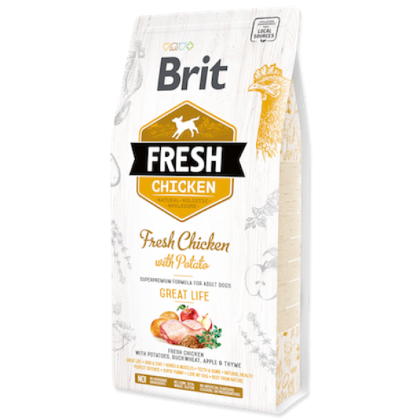 Hrana uscata pentru caini Brit Fresh, Pui proaspat si cartofi, 2.5kg