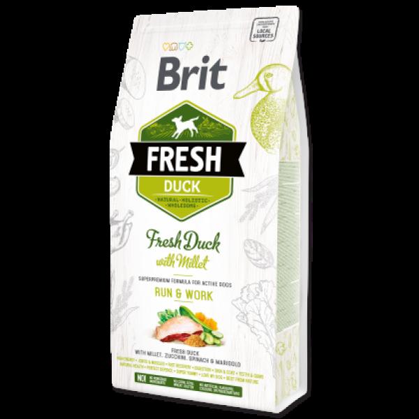 Hrana uscata pentru caini Brit Fresh, Rata si mei, 12kg