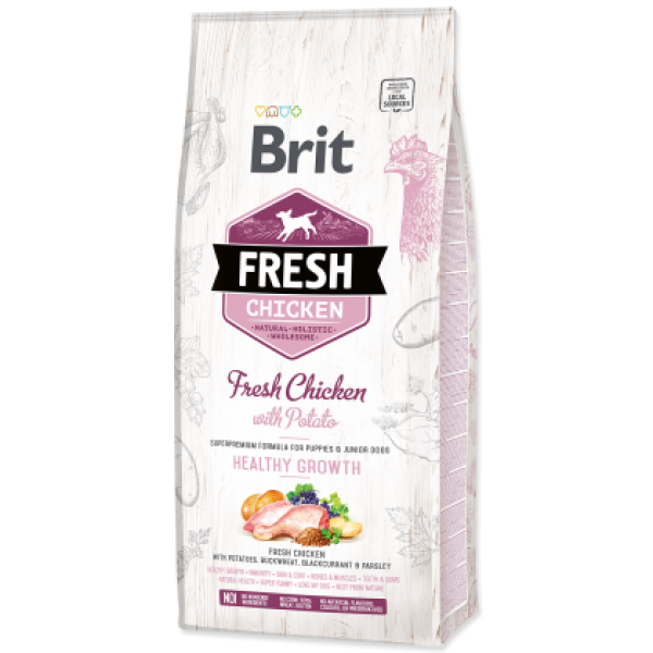 Hrana uscata pentru caini Brit Fresh, Junior, Pui si cartofi, 12kg