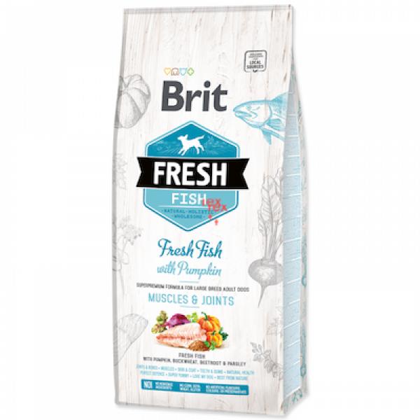 Hrana uscata pentru caini Brit Fresh, Talie Mare, Peste cu dovleac, 2.5 kg