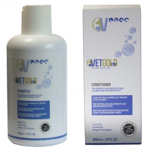 Promotie Sampon + Balsam Vetgold, pentru caini si pisici, cu pielea sensibila si iritata, 600 ml
