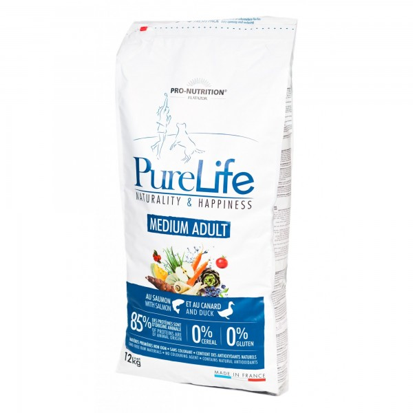 Flatazor Pure Life Medium Adult cu somon si carne de rata, 12 kg