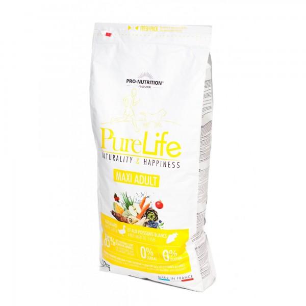 Flatazor Pure Life Maxi Adult cu rata si peste alb,12 kg
