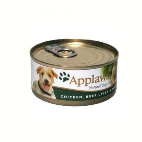 Applaws Dog Adult Piept de Pui, Ficat de Vita si Legume, Conserva 156 gr