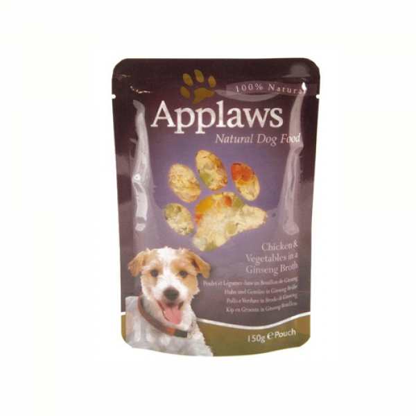 Applaws Dog Adult cu pui, vegetale si ginseng, plic 150 gr