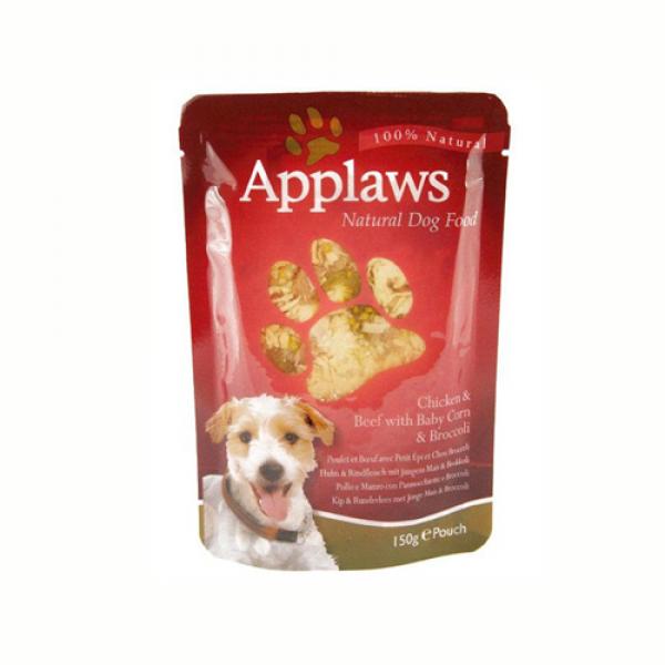 Applaws Dog Adult cu pui, vita, porumb crud si brocoli, plic 150 gr