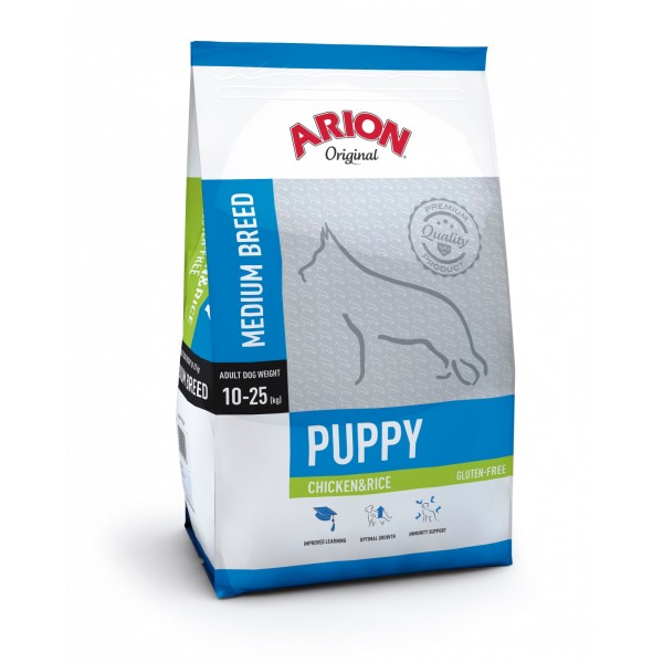 Arion Original Puppy Medium Breed cu Pui si Orez 12Kg