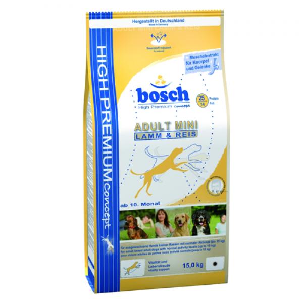 Pachet Bosch Adult Mini Miel si Orez 15 Kg + 3Kg + Galeata