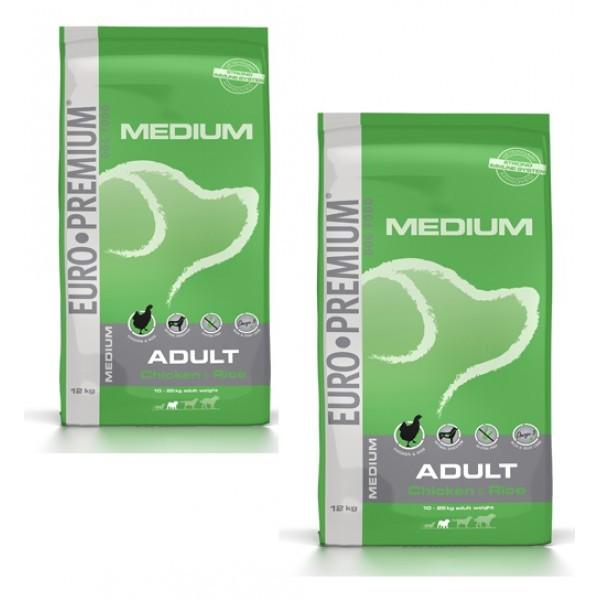 2 X Euro Premium Adult Medium Pui si Orez 12 kg