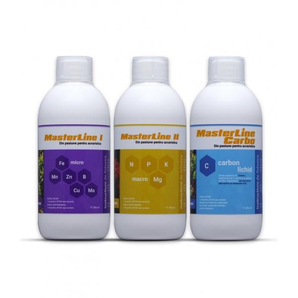 Set complet de fertilizanti pentru plante acvatice MasterLine I + MasterLine II + Carbo, 3 x 1000 ml