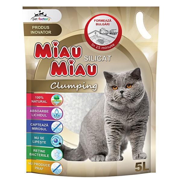 Nisip silicat Miau Miau Clumping, 5L