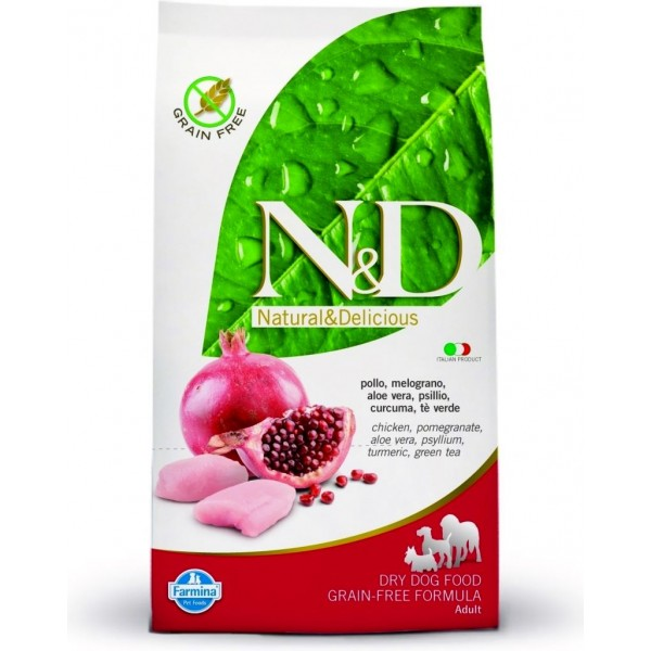 N&D Grain Free Adult Mini Pui si Rodie 7 kg + recompensa Prime Hide Chicken Chips 100gr