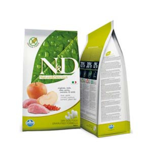 N&D Grain Free Adult Dog Mistret & Mere 7 kg + recompensa Prime Hide Chicken Chips 100gr