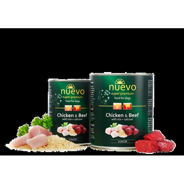 Conserva Nuevo Dog Junior Pui, Vita, Orez si Calciu 400 gr