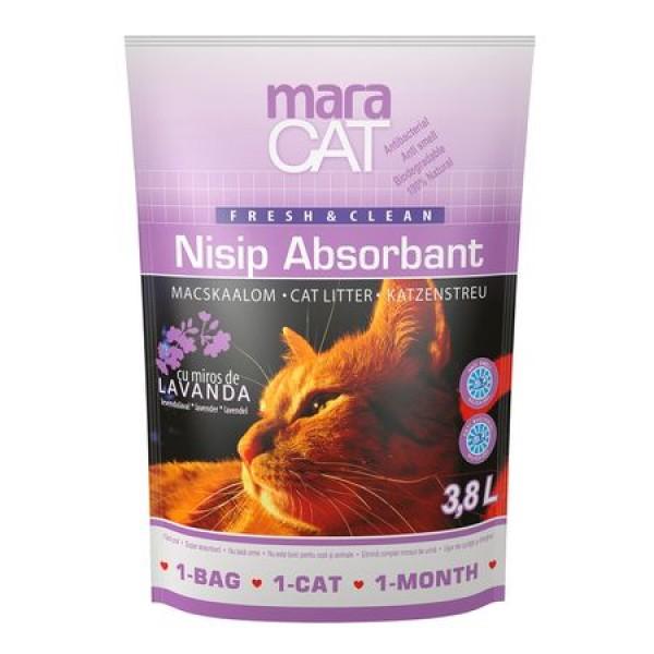 Nisip litiera pisici, Maracat, Absorbant Silicat Lavanda, 3.8 L